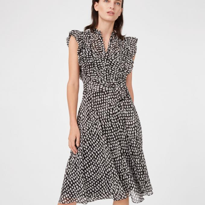 Musim Panas Ruffle Polka Dot Midi Dress Wanita Casual Dresses Ladies