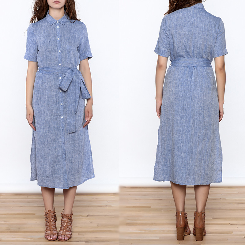 Wanita Kasual Button Down Padat Midi Linen Dresses wanita