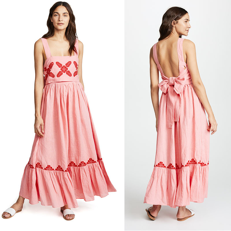 2018 Pink Linen Bordir Wanita Maxi Dress Musim Panas
