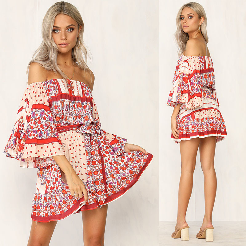 Gaun Musim Panas Wanita Boho Dicetak Off Shoulder Mini Dress